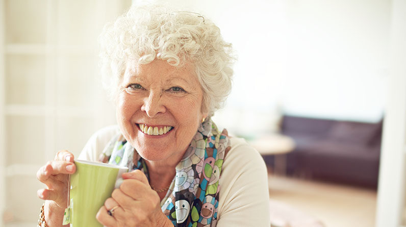 happy old woman white hair