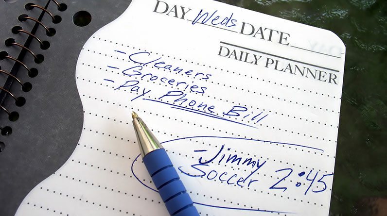 notes in the daily planner