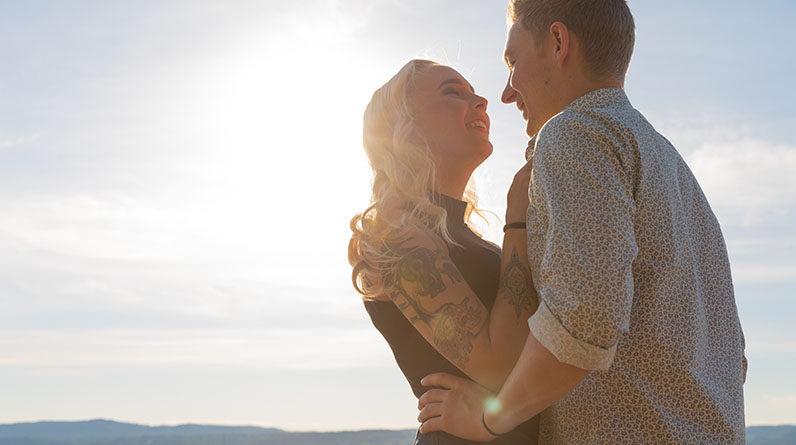 romantic couple smiling